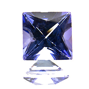 Tanzanite from Tanzania. 1.67 Carat. Square Princess, eyeclean