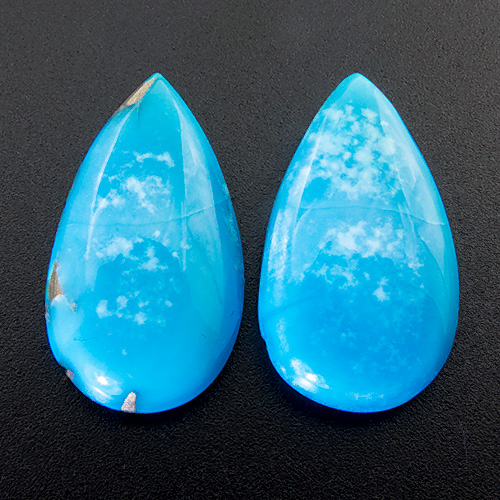 Turquoise from Mexico. 7.54 Carat. Cabochon Pear, opaque