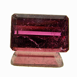 Tourmaline (Rubellite) from Brazil. 2.07 Carat. Emerald Cut, very distinct inclusions