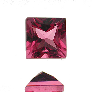 Tourmaline (Rubellite) from Brazil. 1 Piece. Square Princess, very small inclusions