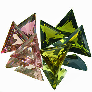 Tourmaline. 3.76 Carat. 7pcs 6mm triangles in pink, yellow and green, the three greens are darker than 