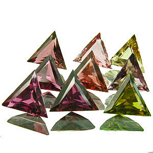 Tourmaline. 7.56 Carat. beatuiful lot of 9 triangles in 