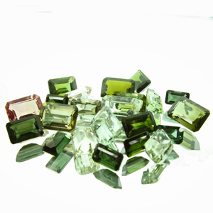 Tourmaline from Brazil. 14.38 Carat. 23pcs, very mixed lot mostly consisting of dark greens and very light greens, sized 5x3 to 7x5mm